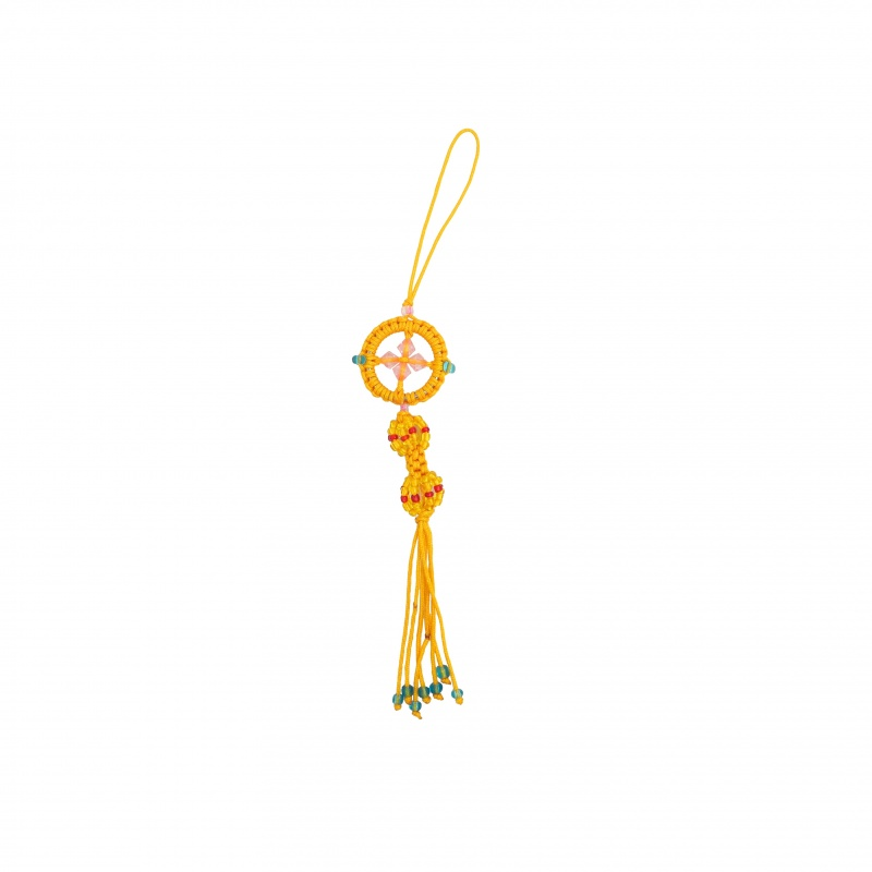 Porte-Bonheur dorje et mandala bouddhiste jaune