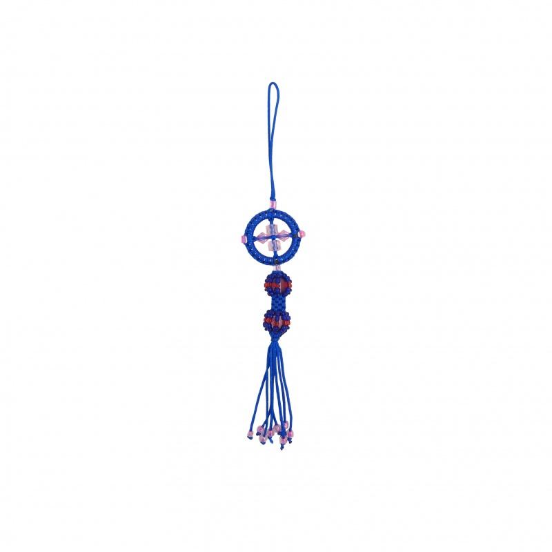 Porte-Bonheur dorje et mandala bouddhiste bleu
