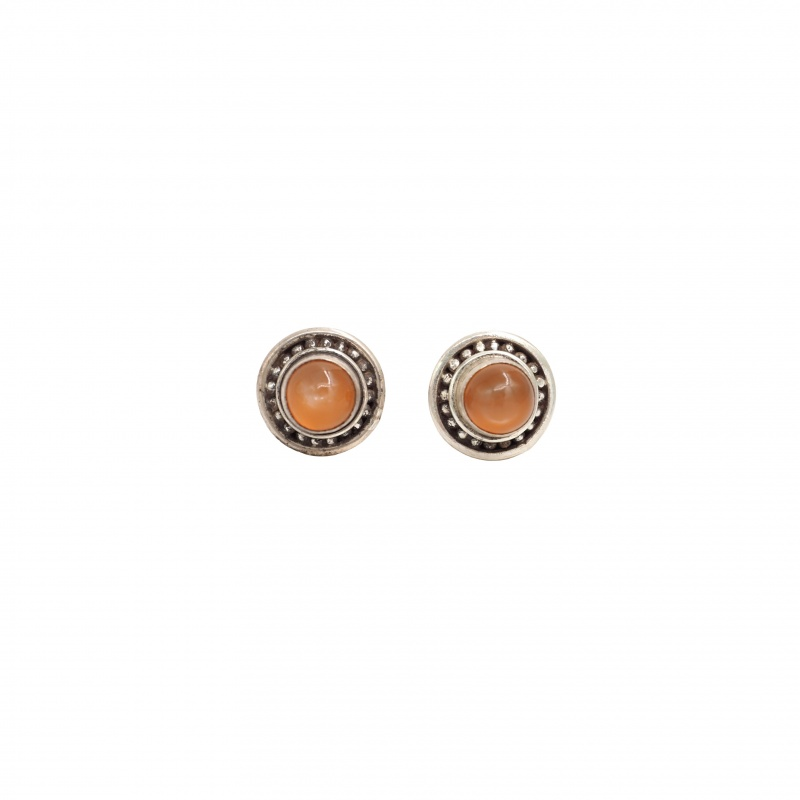 Boucles d'oreilles pierres de lune rosée et argent