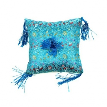 Coussin bol bleu turquoise