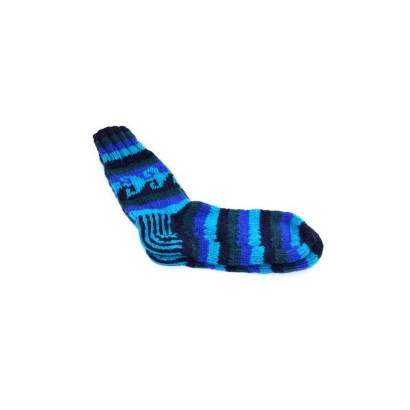 Chaussette en laine bleu turquoise