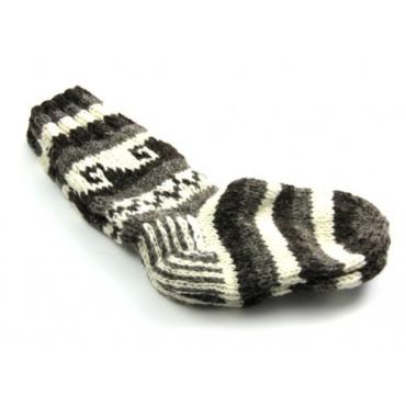 Chaussettes en laine gris écru noir