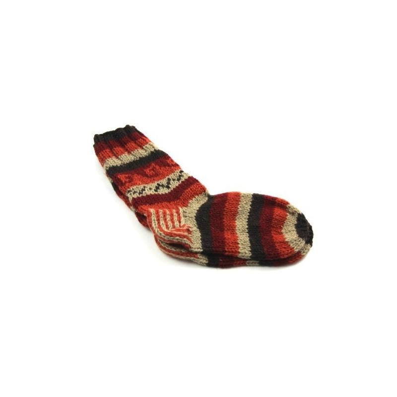 Chaussettes en laine brune lignée