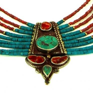 Collier turquoise et corail