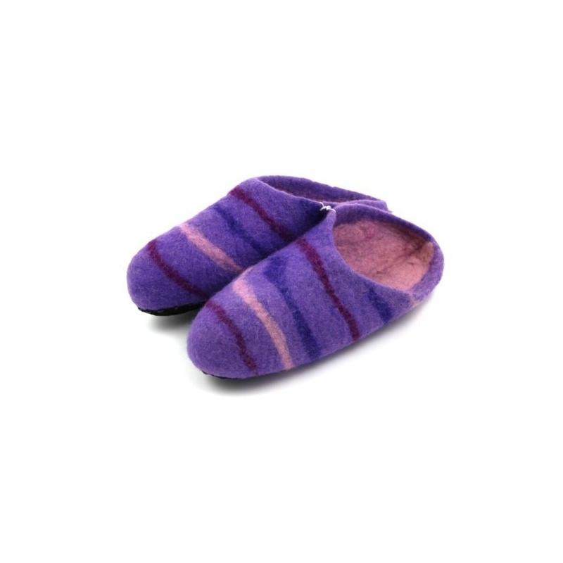 Chaussons violet rayé 40