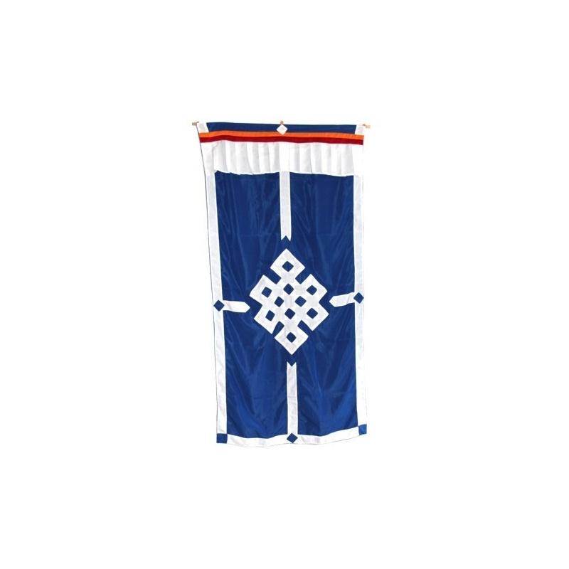 Porte tibétaine bleu noeud sans fin