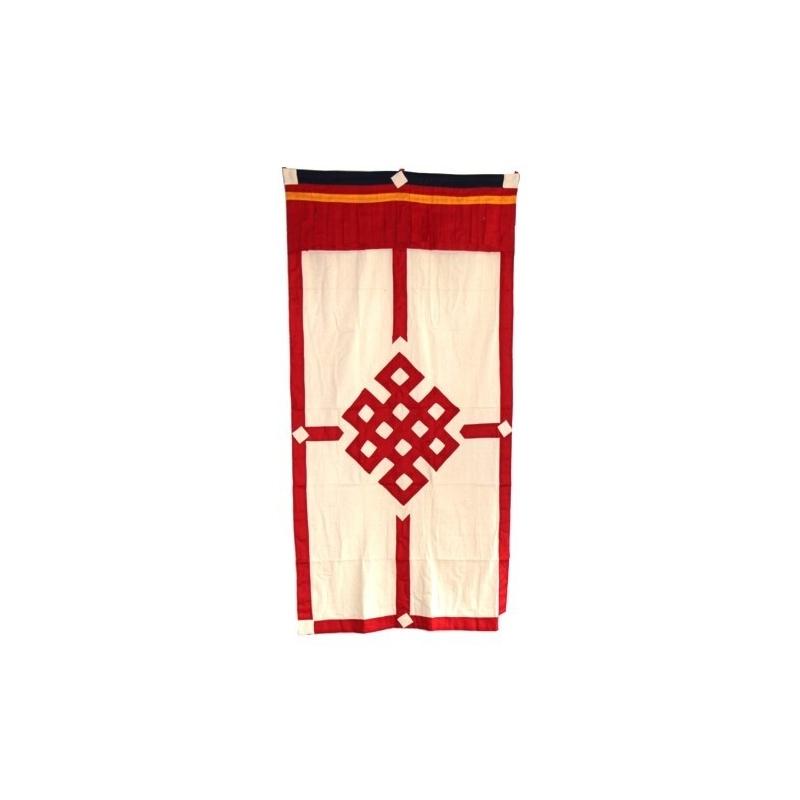 Porte tibétaine rouge noeud sans fin
