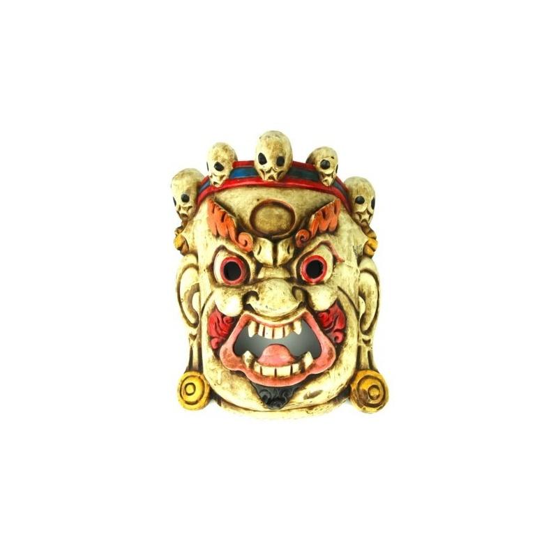 Masque tibétain Mahakala blanc