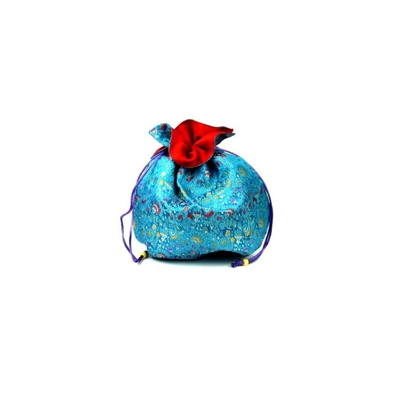 Sac en soie tibétaine bleu