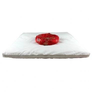 Carré méditation crème et zafu rouge