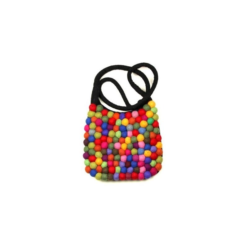 Sac feutre boules multicolores