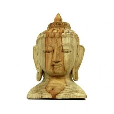 Tête de Buddha en bois