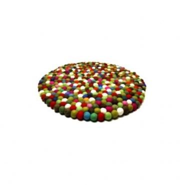 Tapis boules laine multicolore