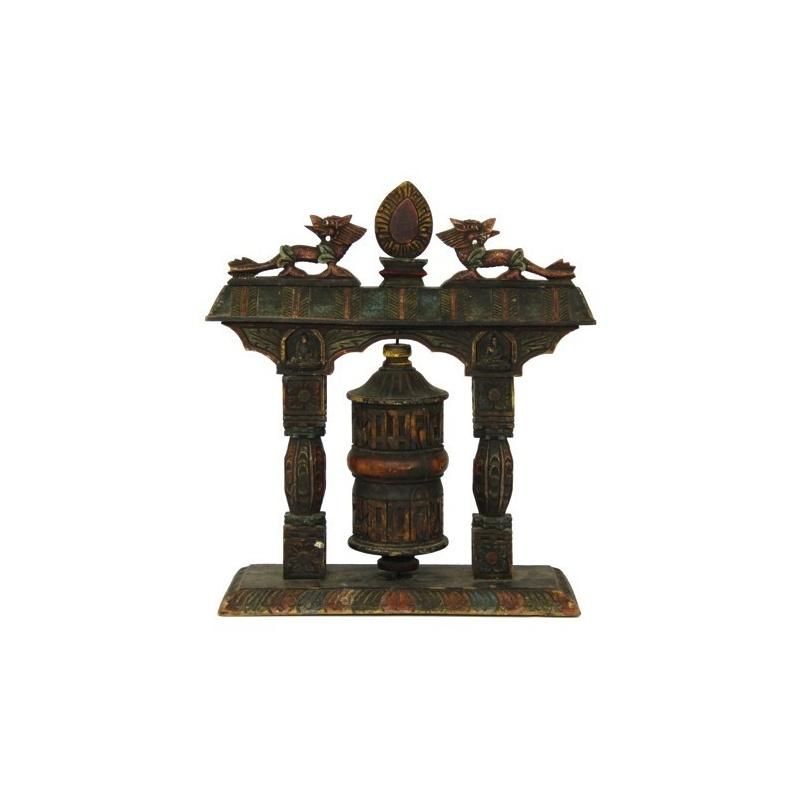 Moulin à prières en bois ancien