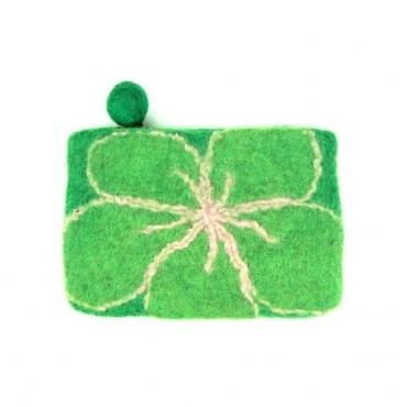 Pochette en laine vert