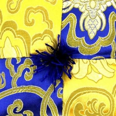 Coussin bol chantant bleu or