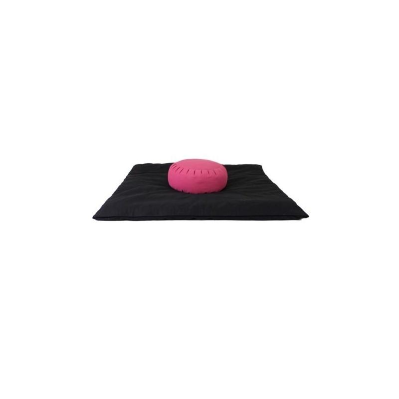 Zabuton noir Coussin méditation rose