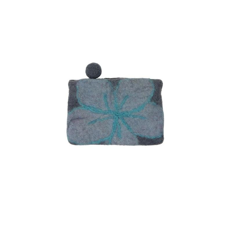 Pochette en laine fleur grise