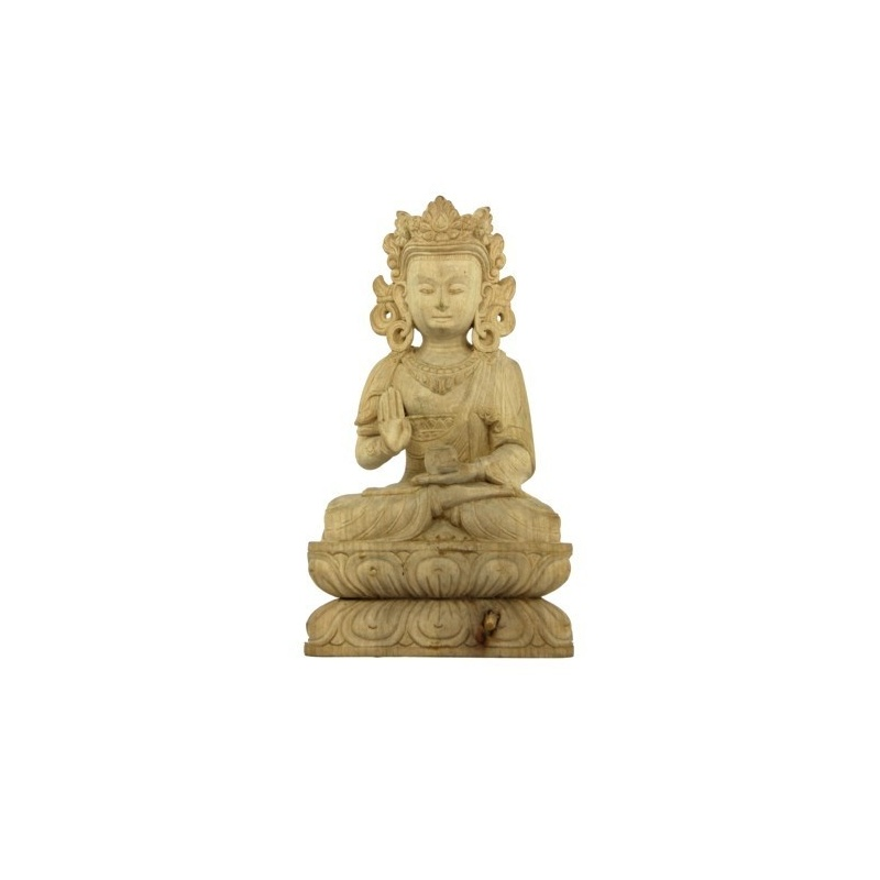 statue bouddha de la protection en bois toit du monde. Black Bedroom Furniture Sets. Home Design Ideas