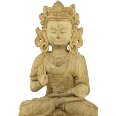 Statue Bouddha Protection en bois