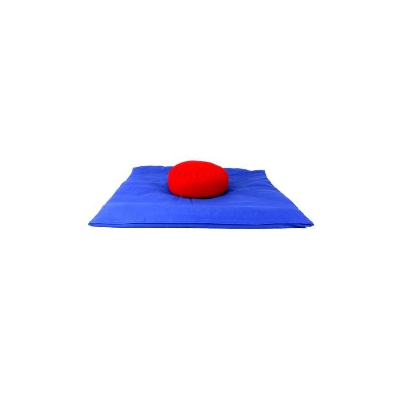 Zabuton bleu et Zafu rouge