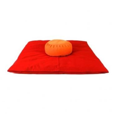 Zabuton rouge et Zafu orange