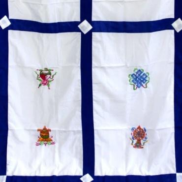 Tenture de porte tibétaine auspicieux blanc