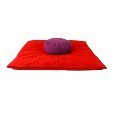 Zabuton rouge et Zafu violet