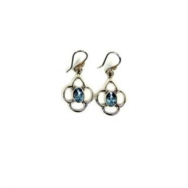 Boucles d'oreilles Topaze bleue