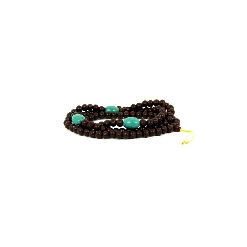 Collier en perles de bois et turquoises