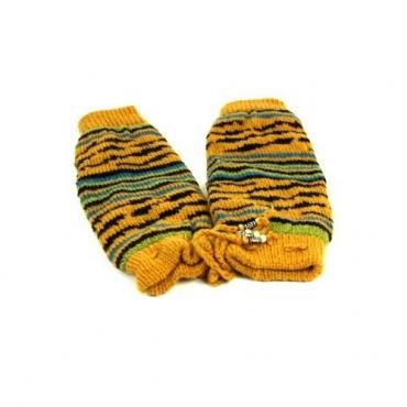 Jambières en laine fantaisies jaune safran