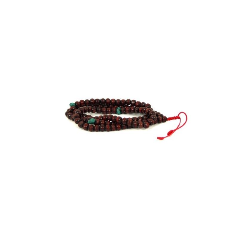 Mala en perles de bois et turquoises