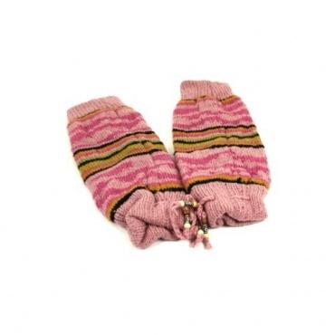 Jambières en laine rose
