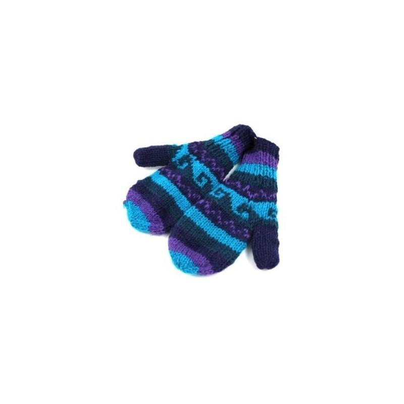 Moufles rayé turquoise