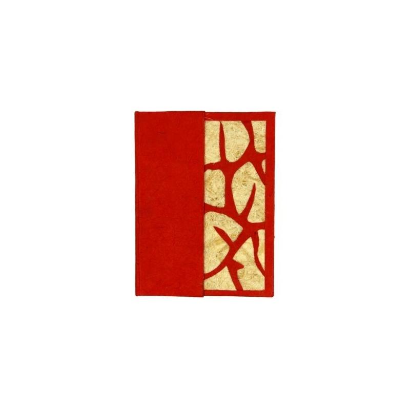 Carnet de papier Lokta rouge