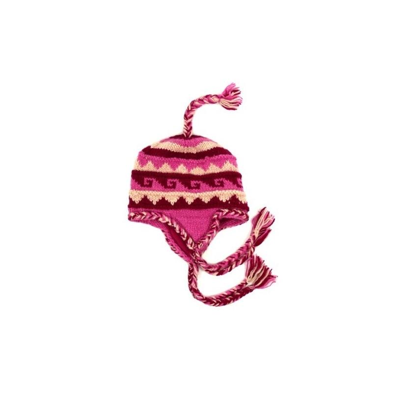 Bonnet en laine rose avec oreilles