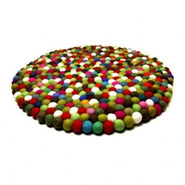 Grand Tapis boules laine multicolore GM