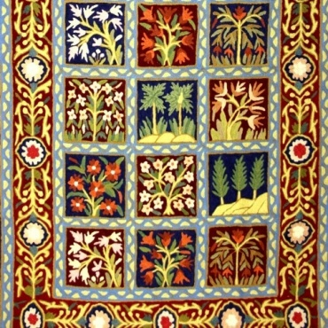Tapis Tableau brodé arbres et fleurs