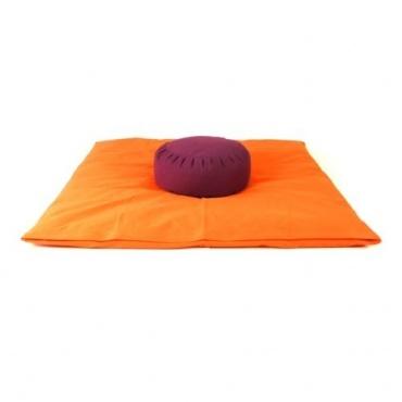 Zabuton orange et Zafu violet magenta